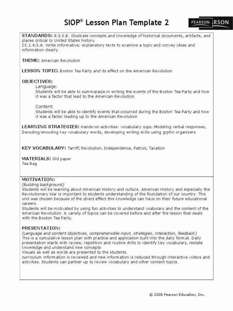 Siop Lesson Plan Template 1 Best Of Siop Lesson Plan