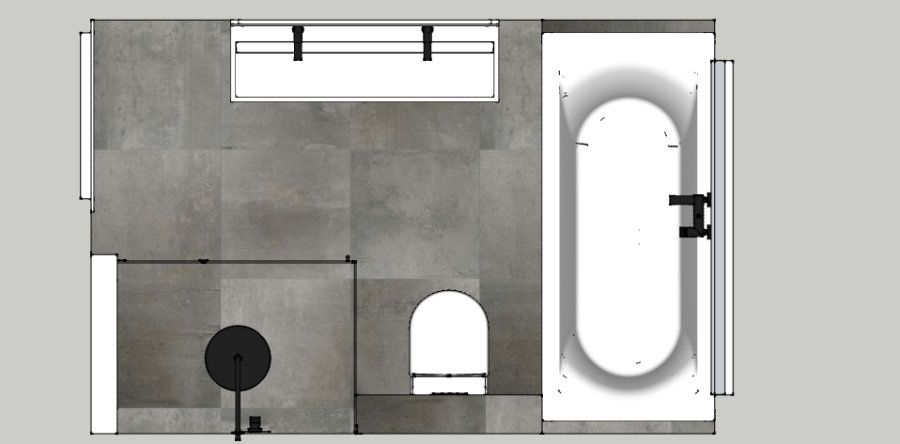 Badkamer ontwerp met ligbad onder het grote raam, zwevend badmeubel ...