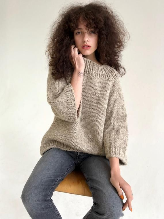 Grey hand knitted jumper, chunky knit alpaca wool sweater size small #chunkyknitjumper