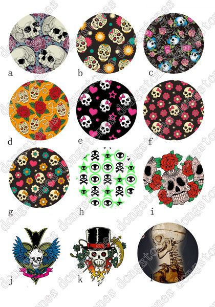 Skull Skeleton Charm Round Clear Glass Cabochons by dongstones