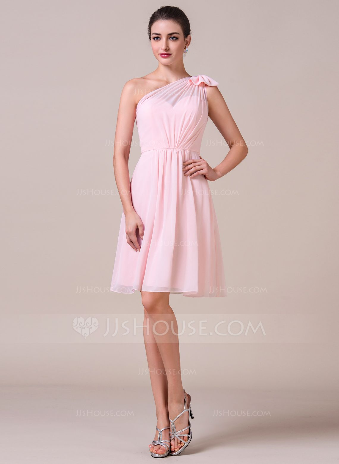 A-Line/Princess One-Shoulder Knee-Length Chiffon Bridesmaid Dress ...