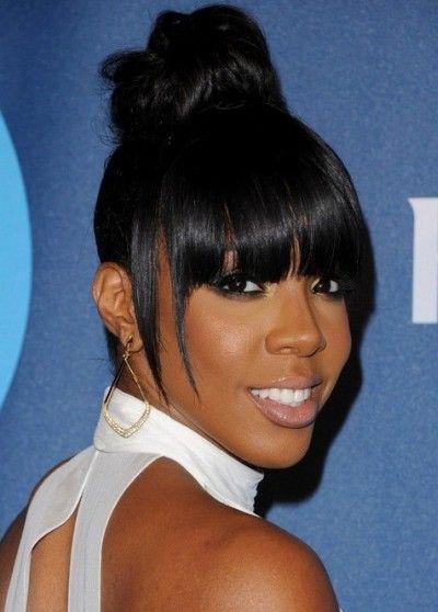 Kelly Rowland High Bun Blunt Hair With Bangs African
