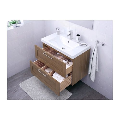 GODMORGON / ODENSVIK Sink cabinet with 2 drawers - walnut effect ...