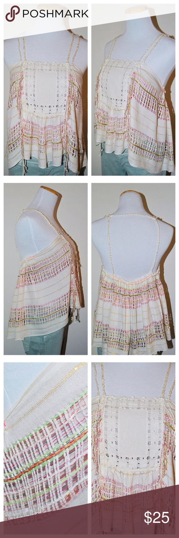 🆕FREE PEOPLE Woven & Fringe Cream Top New Romantics Cream with rainbow and shimmer woven strings. Very intricate and delicate detail on this stunning top. 93% Viscose 6% cotton 1% Metallic, Hand Wash Cold. Free People Tops