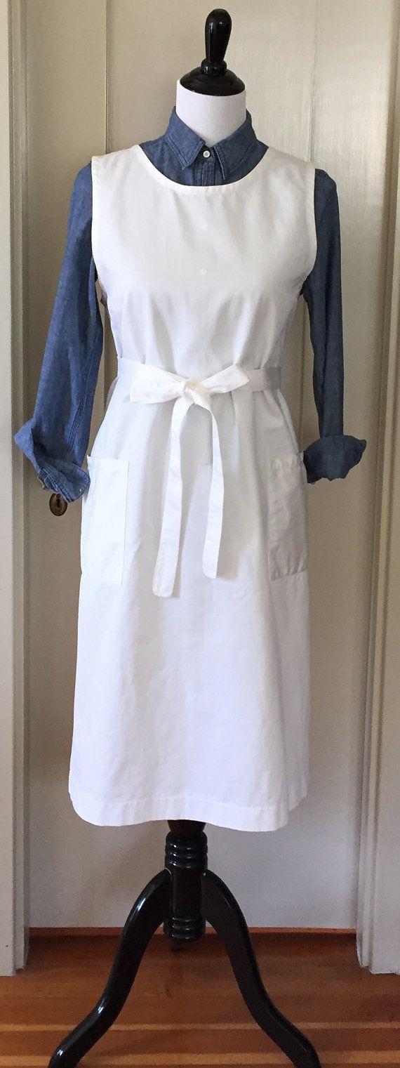 White apron pinafore - White Cotton Twill Back Wrap Apron Pinafore Smock By Virginiaway