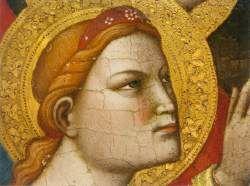Niccolò di Pietro Gerini - Battesimo di Cristo, pannello centrale Trittico di Londra, dettaglio - 1387 - tempera e oro su tavola - National Gallery, London