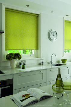 lime green and silver floral patterned kitchen roller blinds rh pinterest com