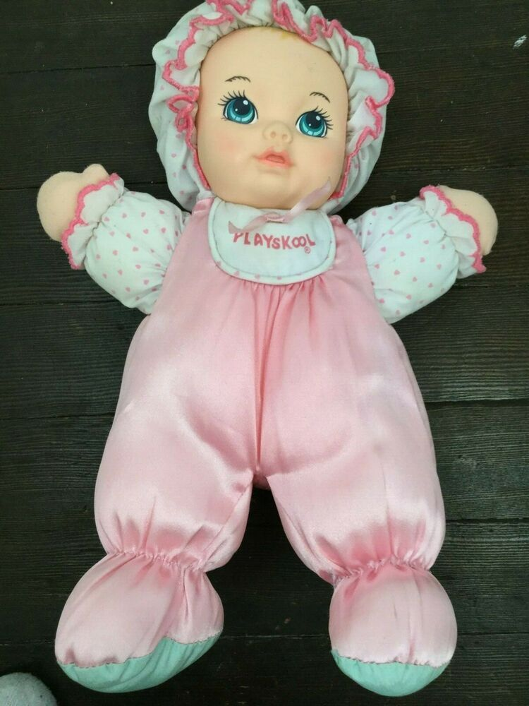 Vintage Playskool My Very Soft Baby Doll Plush Lovey Pink Satin Squeaks 11 Inch Playskool Soft Baby Dolls Baby Dolls Baby Soft