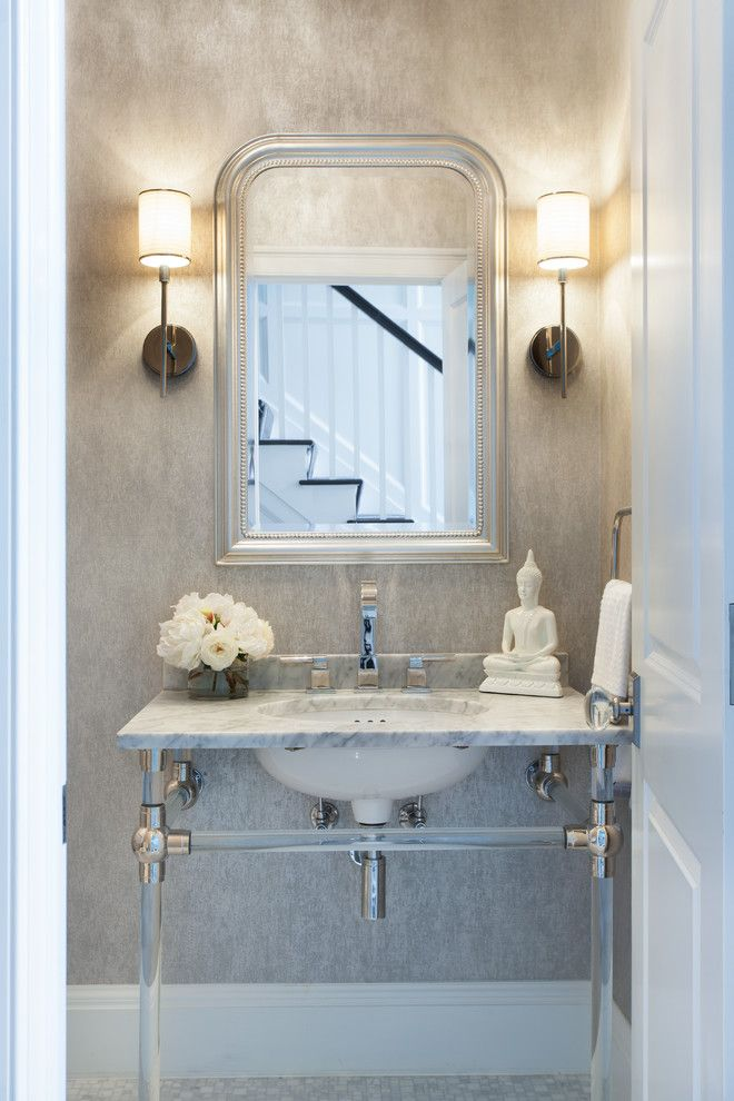 Traditional White Powder Room Bathroom Design Decor Ideas All Glam Style Mirror Arrangement Wall Lamps Lanterns Marble Vanity Small