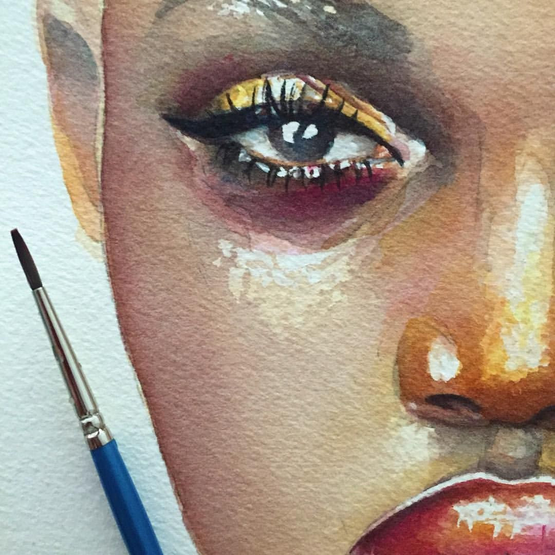 Stellablu Brown Skin In Watercolor In Progress