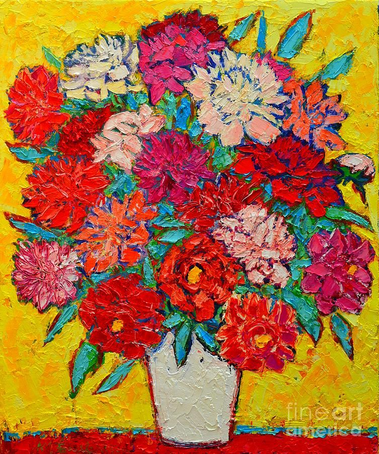 Peonies Painting - Colorful Peonies by Ana Maria Edulescu