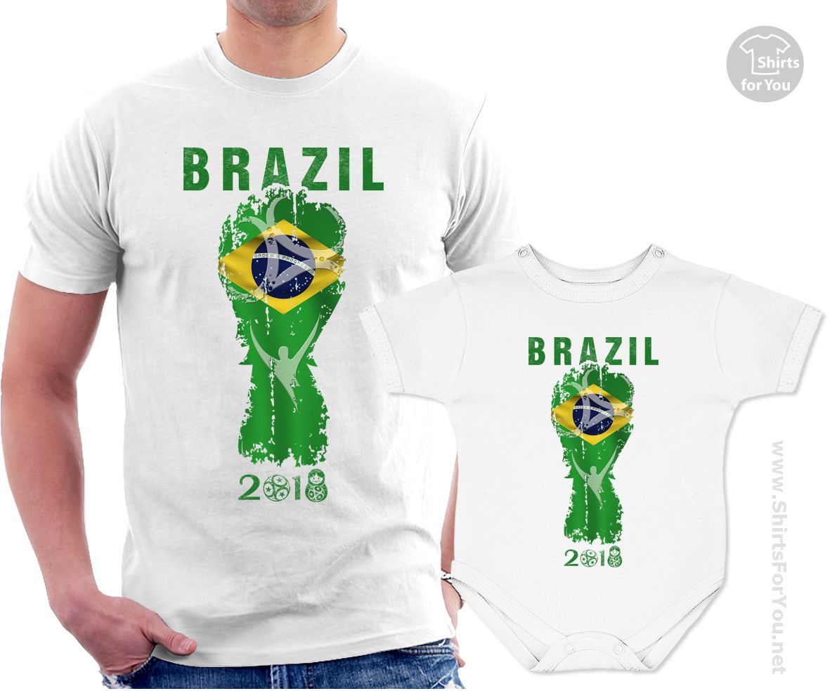 sale retailer 8fc56 7aead Brazil Football Fan Matching T-Shirt and Onesie, Football ...
