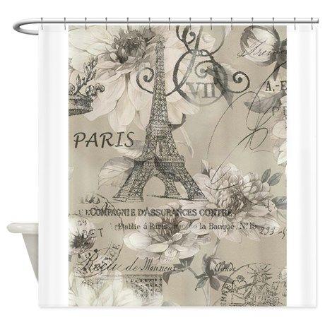 Cute Paris Eiffel Tower Scripts Shower Curtain By Focusedonyou