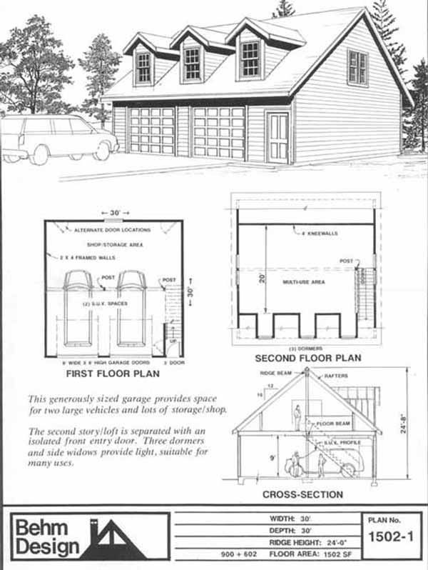 Over sized two car garage with loft plans 1502 1 30 39 x 30 for How much to build a garage with loft