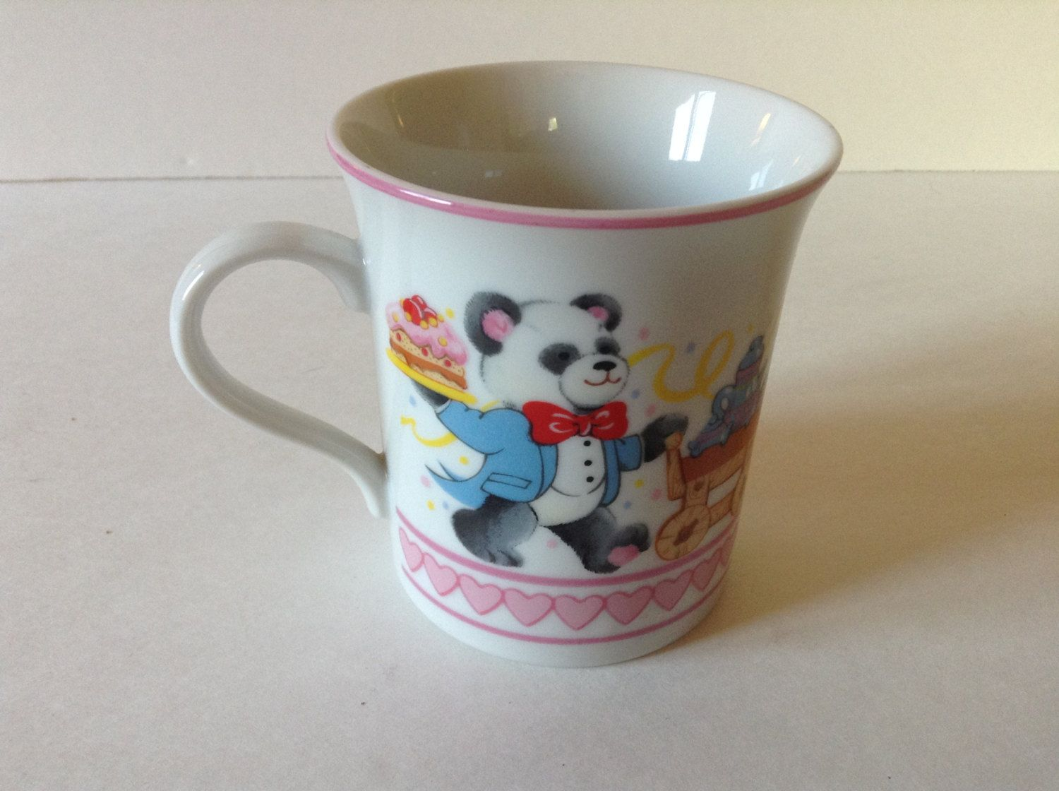 1983 Party Bears Ceramic Coffee Tea Mug Cup Wallace Berrie made in Japan Teddy Bears by afunspottoshop on Etsy