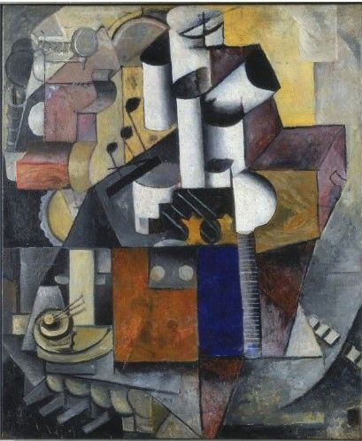 """Evita Bookelmann visited the Stedelijk Museum, a.k.a. """"The Bathtub"""",  in Amsterdam, after a long period of renovation.  (Kazimir Malevich - Lamp / Musicinstruments 1913)"""