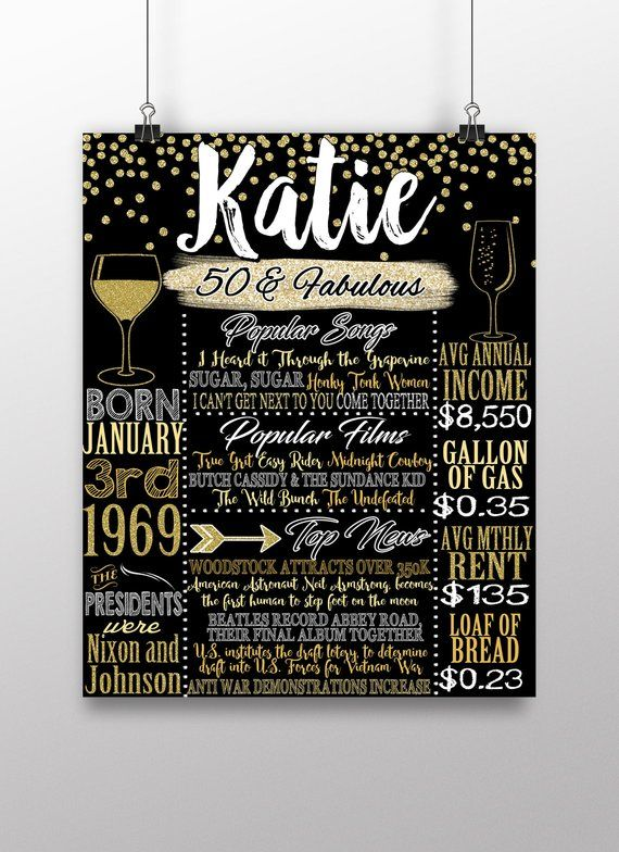 What Happened In 1969 Board 50th Birthday Gift For Her Party Decor 50 Years Old Bday BRDADL69 2019