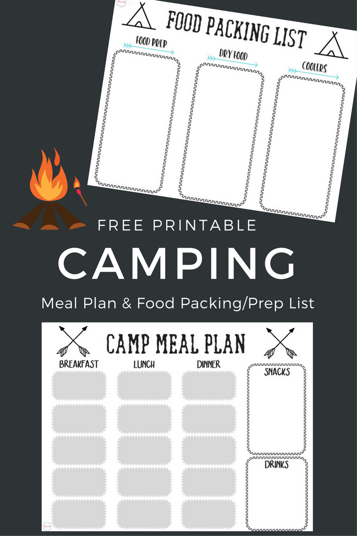 free printable camping food list menu plan camping foods menu