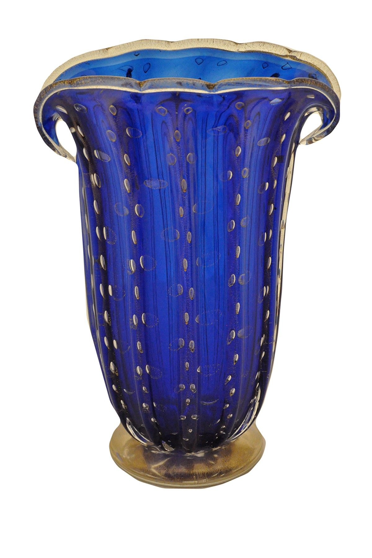vintage blue murano glass vase with 24k gold italy. Black Bedroom Furniture Sets. Home Design Ideas