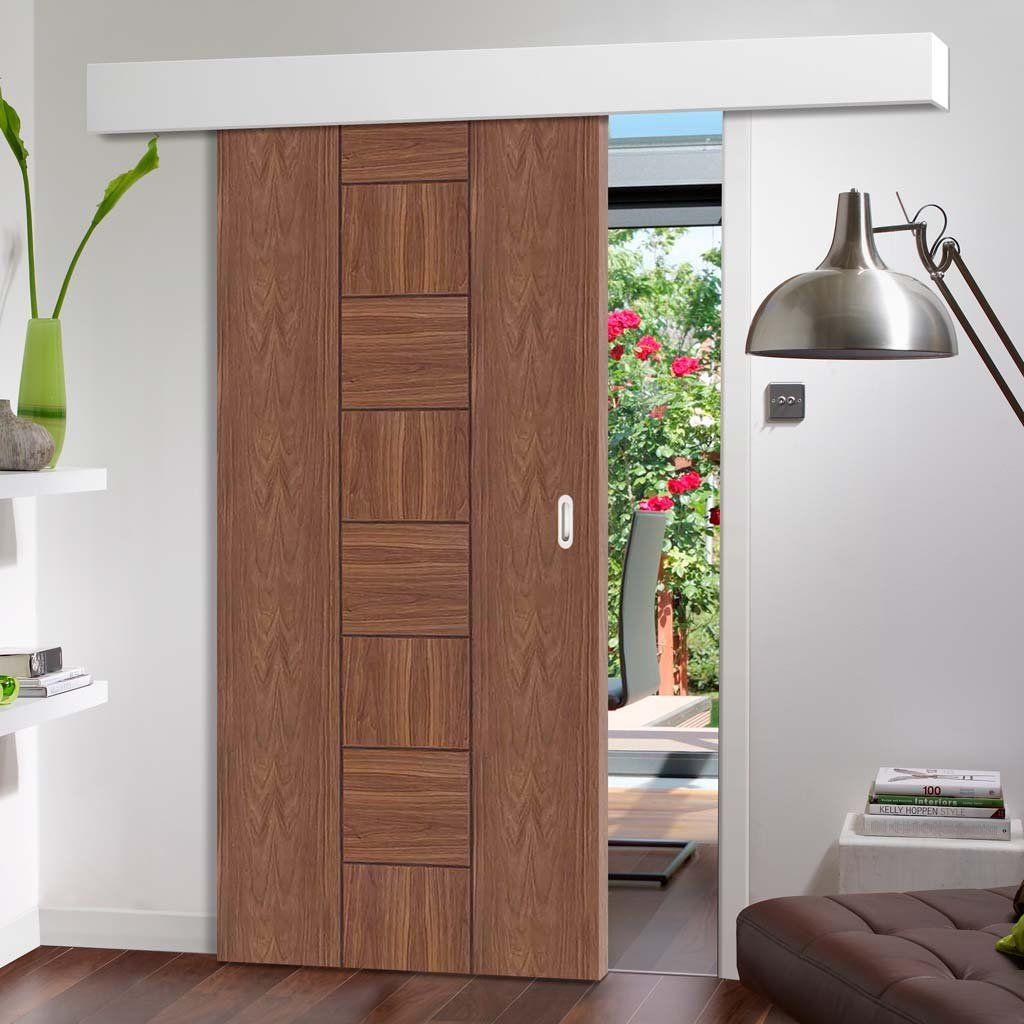 Bespoke Thruslide Surface Messina Walnut Flush Sliding Door And Track Kit Prefinished Lifes Doors Interior Modern Internal Sliding Doors Room Door Design