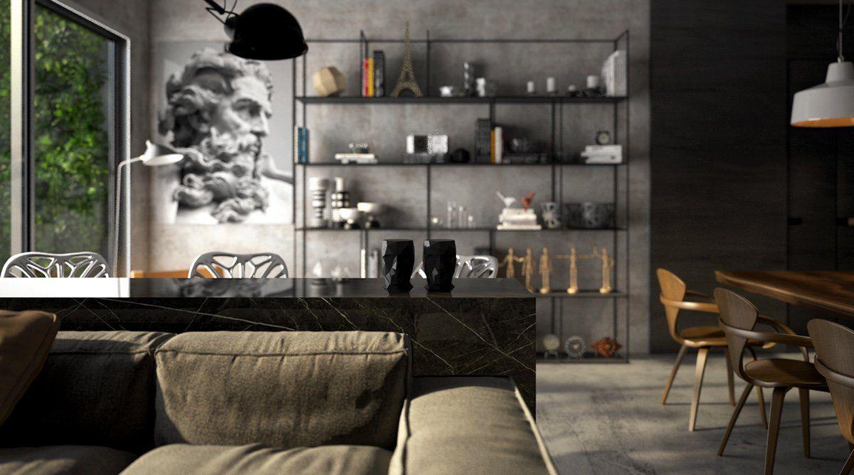salon ouvert sur la cuisine avec table de bar en marbre noir et ...