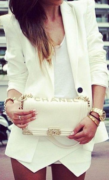 All white - Stunning blazer + white t + white Skort.