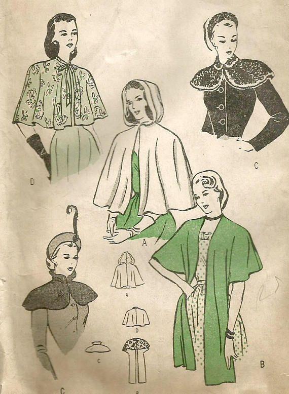 Vintage 40s Butterick 4570 Misses Capes, Capelets and Wrap Stole ...