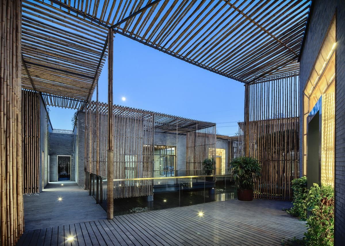 House Terrace Design With Large Fish Pond Modern Bamboo House - Modern house terrace design