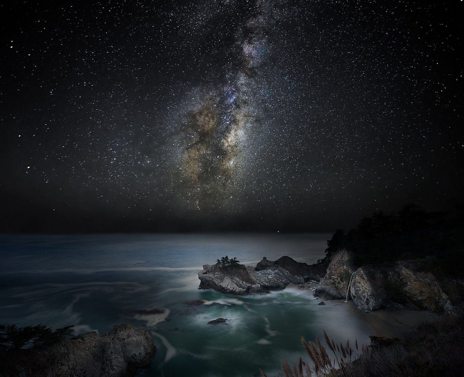 Nature Landscape Waterfall Beach Sea Milky Way Starry Night Galaxy Coast California Long Exposure Sky Wallpapers Hd Desktop And Mobile Backgrounds Canvas Art Milky Way Canvas