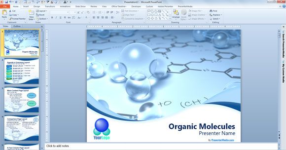 Organic Molecules Free Powerpoint Template Created By