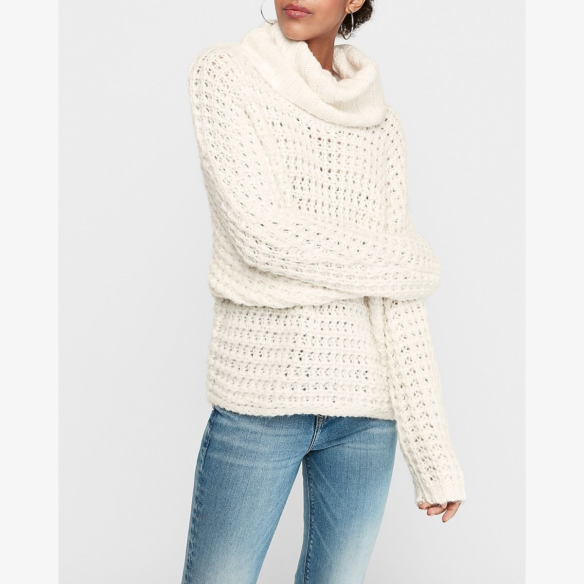 Oversized Cowl Neck Knit Dolman Sweater White Women S Xs Oversized Cowl Neck Sweater Oversized Cowl Neck Chic Sweaters