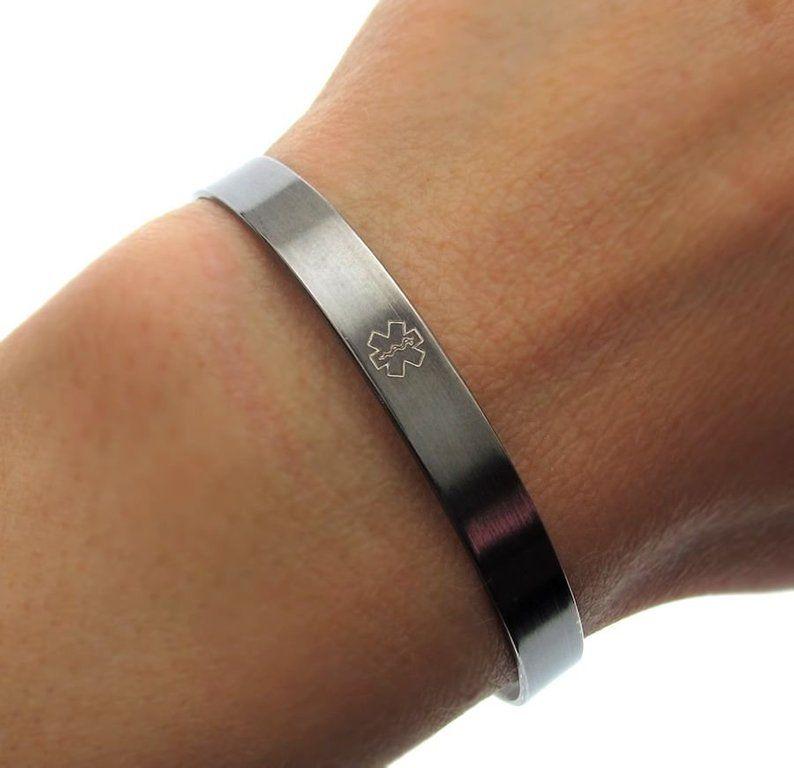 86e1430a83e3 Black Medical ID Bracelets Personalized Women's Medical | Etsy ...