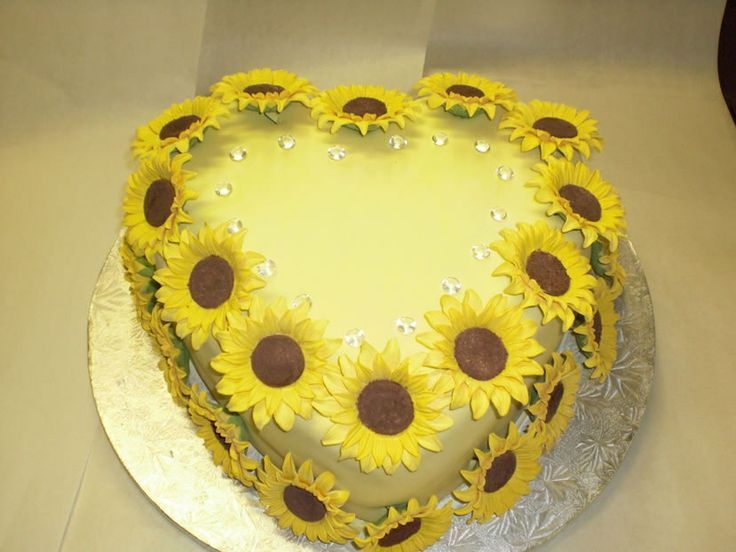 Sunflower Birthday Cake Heart sunflower birthday cake