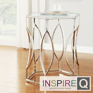 chrome glass end tables polished chrome inspire kona contemporary chrome glasstop hexagonal accent table overstockcom shopping great deals on inspire coffee sofa end tables