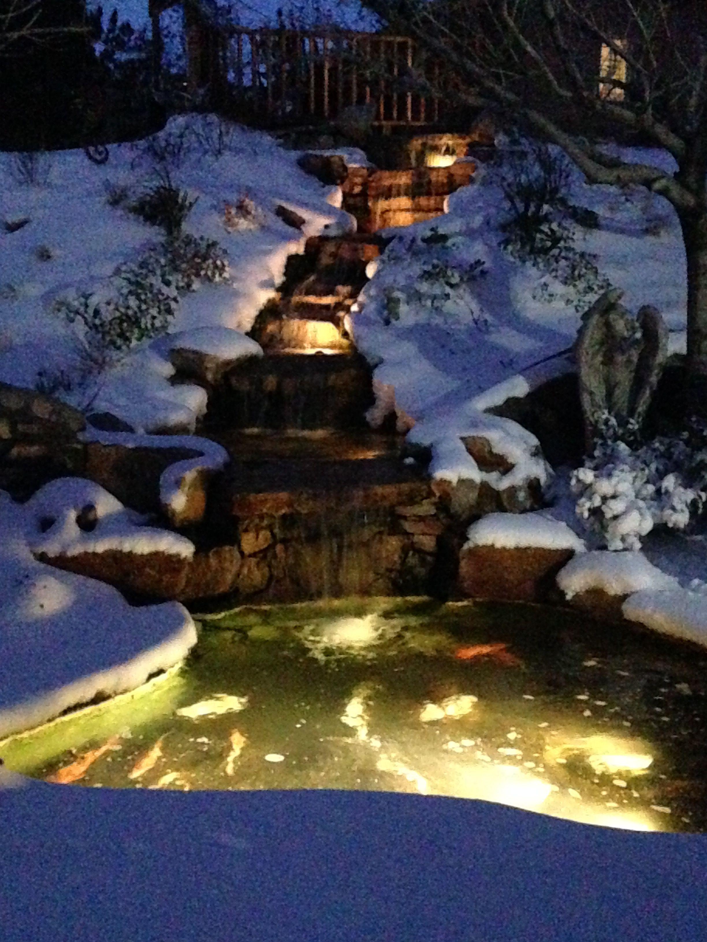 Looks Like My Waterfall In Winter Backyard Water Feature Water Gardens Pond Winter Garden