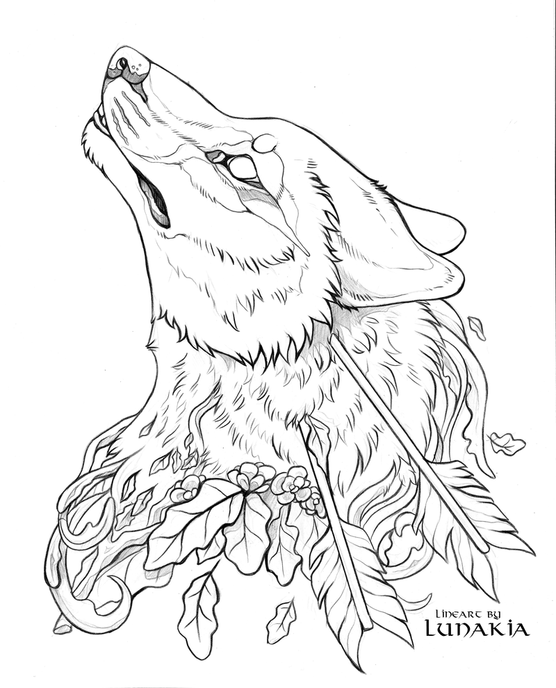 Line Drawing Wolf : Free wolf lineart by lunakia viantart on deviantart
