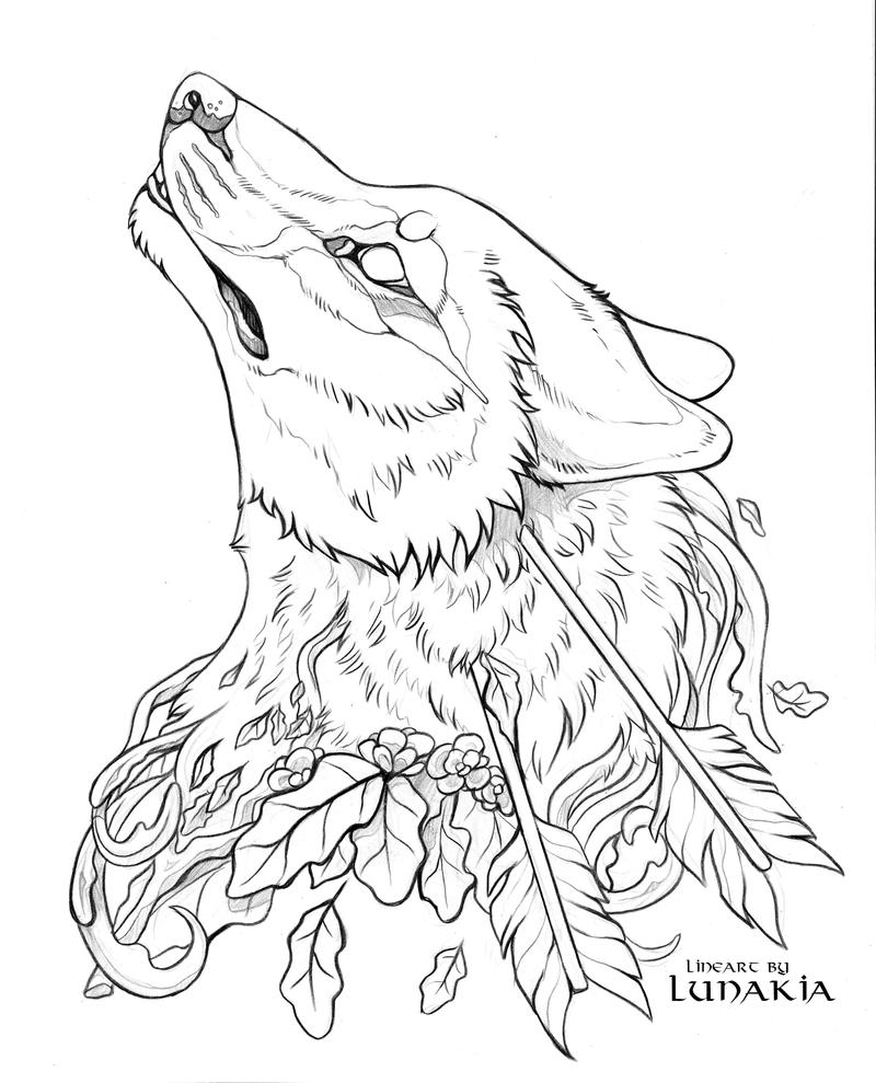 Wolf Lineart : Free wolf lineart by lunakia viantart on deviantart