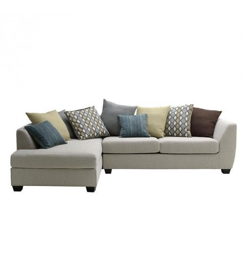 Fabric Left Corner Sofa In Creme Color 306x180x90 50 Couch Daybed Corner Sofa