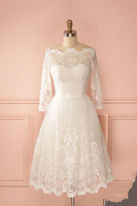 Retro 50s Off The Shoulder Lace Short Vintage Wedding Dress With Long Sleeves Gdc1522 Short Lace Wedding Dress Short Wedding Dress Summer Wedding Dress