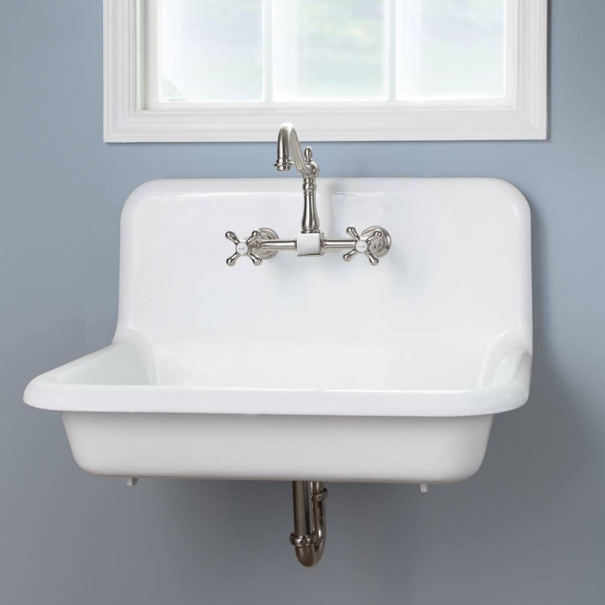 30 inch cast iron high back farm sink vintage bathroom