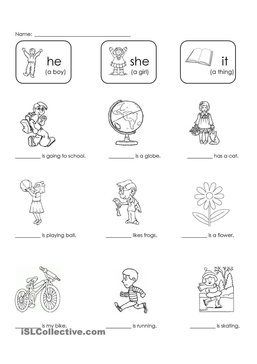 Worksheet Primary School English Worksheets english and worksheets on pinterest students choose the correct pronoun he she or it to fill in blank correctly personal pronouns spelling writing beginner elementary
