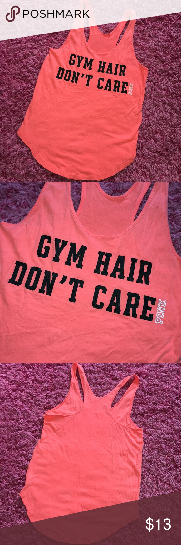 6cc06ec566ca38 Victoria s Secret PINK Gym Hair Don t Care Tank🧡 Victoria s Secret PINK  Bright Coral