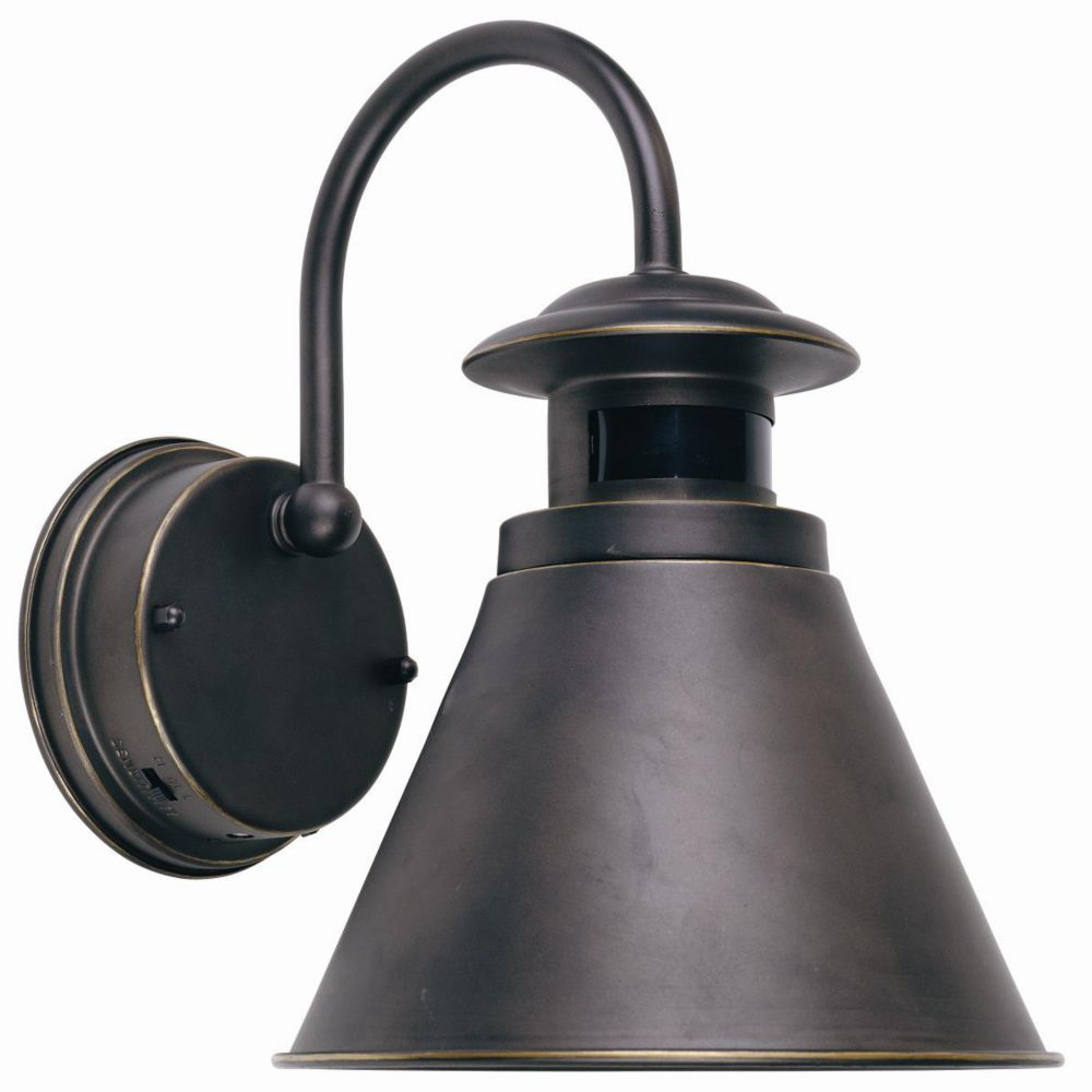 Hampton Bay Outdoor Wall Lantern With Motion Sensor Oil Rubbed Bronze Finish The Home D Bronze Outdoor Lighting Motion Lights Outdoor Outdoor Light Fixtures