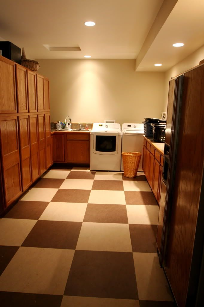 Marmoleum checkerboard floor... maybe white and grey would ...