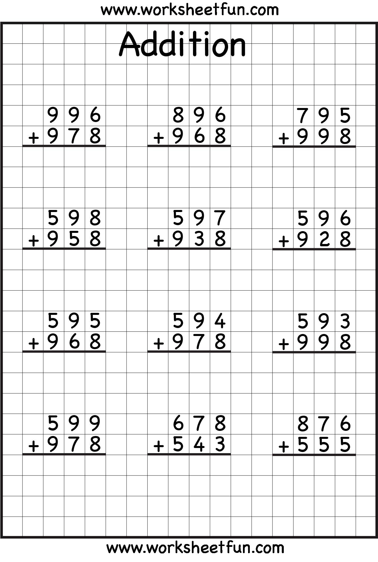 3 Digit Addition With Regrouping Carrying 6 Worksheets