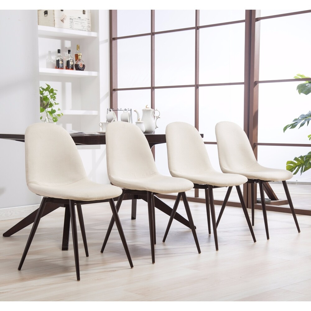 Lassan Modern Metal And Fabric Dining Chairs Set Of 4 In 2020
