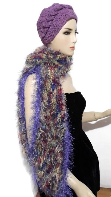 Photo of Fiber art scarf, knit handmade scarf, needle felted fringes, variegated colors,  The butterflies scarf