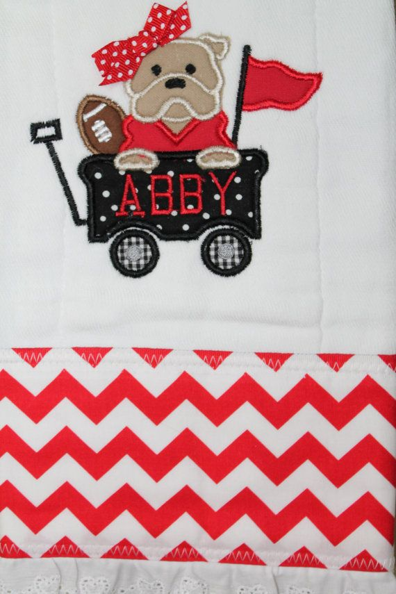 Personalized and appliqued Bulldog burp by AppliquesByGranjan, $18.00