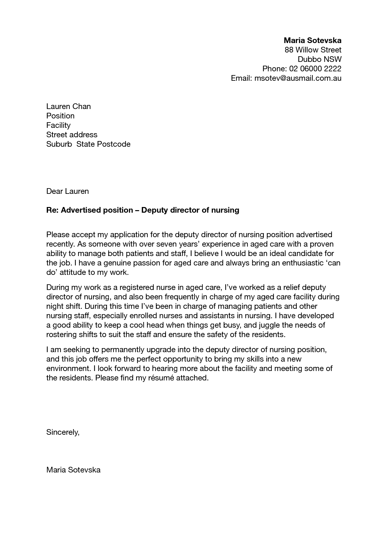 nursing school cover letter - Resume Cover Letter Nursing