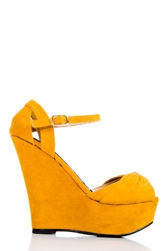 a1b631de4b6  16 at www.heavenlycouture.com Faux Suede Ankle Strap Platform Wedges in  Mustard